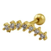 Nordik Piercing: Studio de piercing dans le 76: Micro-barbell en acier doré avec cristaux blancs