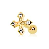Nordik Piercing: Boutique en Ligne: Micro-barbell or croix cristal blanc