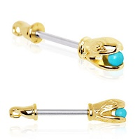 Nordik Piercing: Boutique en Ligne: Bijou de téton serpent doré perle bleue