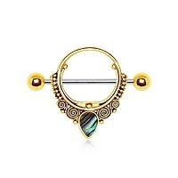 Nordik Piercing: Studio de piercing dans le 76: bijou de téton en acier doré avec opalite