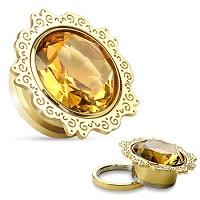 Nordik Piercing: Boutique en Ligne de Piercings: Plug doré cristal