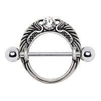 Nordik Piercing: Studio de piercing dans le 76: bijou de téton ailes d`ange avec cristal