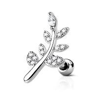 Nordik Piercing: Boutique en Ligne de Piercings: Barbell branche argentée cristal blanc