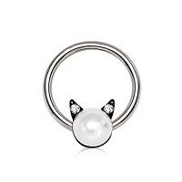 Nordik Piercing: Boutique en Ligne: Anneau BCR chat perle et cristal