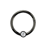 Nordik Piercing: Studio de piercing dans le 76: anneau à charnière en acier noir avec cristal blanc