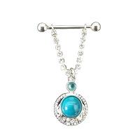 Nordik Piercing: Studio de piercing dans le 76: bijou de téton avec chaîne et turquoise