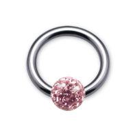 Nordik Piercing: Vente de Piercings: Anneau BCR boule multicristal Swarovski rose