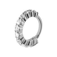 Nordik Piercing: Studio de piercing dans le 76: Anneau à charnière en acier 316L avec cristaux blancs pour piercing d`oreille en 1,2 x 8 mm
