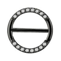 Nordik Piercing: Studio de piercing dans le 76: bijou de téton à charnière en acier noir avec strass blancs