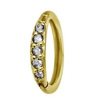 Nordik Piercing: Studio de piercing dans le 76: anneau charnière doré Swarovski