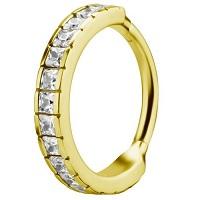 Nordik Piercing: Studio de piercing et vente de bijoux de piercings dans le 76: Anneau doré à charnière zirconia Swarovski pour piercing