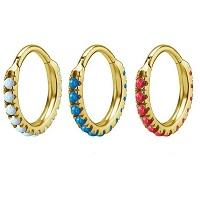 Nordik Piercing: Studio de piercing et vente de bijoux de piercings dans le 76: Anneau doré à charnière avec opales pour piercing septum
