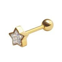 Nordik Piercing: Boutique en Ligne: Barbell en or étoile Swarovski