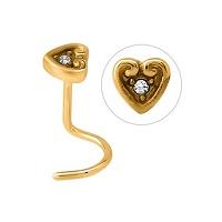 Nordik Piercing: Boutique en Ligne: Stud doré coeur cristal blanc