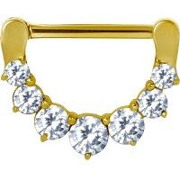 Nordik Piercing: Boutique en Ligne: Bijou téton doré charnière cristaux