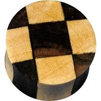 Nordik Piercing: Boutique en Ligne: Plug bois damier du 6 au 24 mm