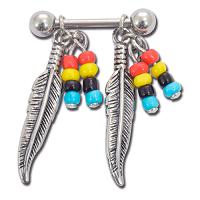 Nordik Piercing: Boutique en Ligne: Bijou de téton plumes perles multicolores
