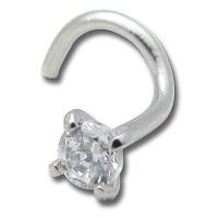 Nordik Piercing: Studio de piercing dans le 76: Stud en acier avec cristal blanc griffé pour piercing nez