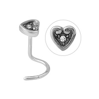 Nordik Piercing: Boutique en Ligne: Stud coeur cristal blanc
