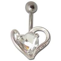 Nordik Piercing: Boutique en ligne: Banane pour piercing nombril coeur en cristal blanc