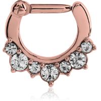 Nordik Piercing: Anneau piercing septum PVD or rose strass blanc ouverture charnière