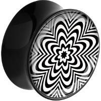 Nordik Piercing: Plug acrylique noir mandala piercing oreille de 10 à 26 mm
