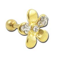 Nordik Piercing: Boutique en Ligne: Micro-barbell doré fleur cristal