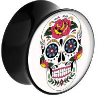 Nordik Piercing: Plug acrylique piercing oreilles crâne mexicain de 10 à 30 mm