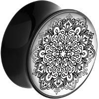 Nordik Piercing: Plug acrylique noir mandala piercing oreille de 12 à 24 mm