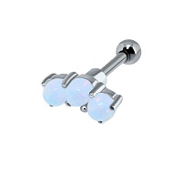 Micro-barbell argent 3 opales