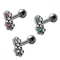 Nordik Piercing: Studio de piercing dans le 76: micro-barbell fleurs en acier avec cristaux blancs, bleus ou roses pour piercing cartilage
